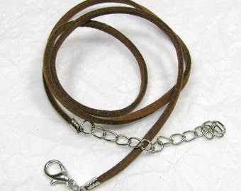 """Brown Suede Pendant Cord 19"""",  Light Brown Suede Leather Pendant Necklace Cord, Pendant, Necklace Cord.  Lobster Clasp Cord"""