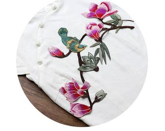 Embroidered Flowers Appliques Bird On Floral Branch Patches