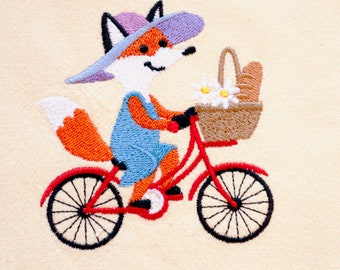 Foxy Cyclist Tea Towel | Embroidered Kitchen Towel | Personalized Kitchen Towel | Embroidered Towel | Fox Gift | For Bicyclists | Hand Towel
