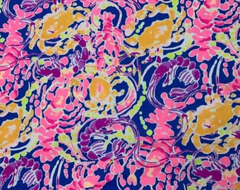 Rare cotton twill  Catch and Release 6 X 6,  9 X 18 inches or 18 X 18 inches ~Authentic Lilly Pulitzer~