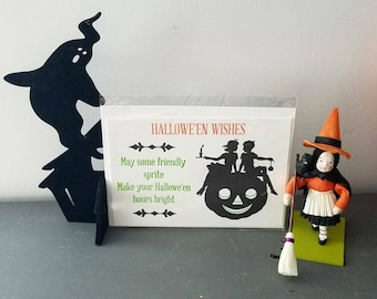 SALE Set of Halloween Cards, Halloween Pumpkin, Silhouette Letterpress Card, Halloween Letterpress, Stationary, Clearance, Greeting Card