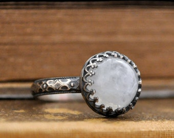 sterling silver moonstone ring, MOONLIT,  handmade antiqued sterling silver ring with genuine rainbow color moonstone cab