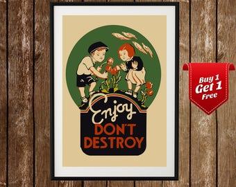 Anti Vandalism Propaganda Print, Propaganda Ad, Vandalism Prevention, Enjoy Don't Destroy, Propaganda Poster, Propaganda Print, Government