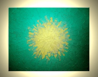 Green Metallic Painting, Original Gold Textured Media Painting by Dan Lafferty - 24 X 30, Fathers Day Sale