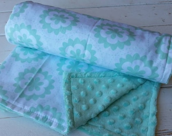 Minky baby blanket-Personalized girls mint minky baby blanket in mint flowers-personalized minky baby blanket with applique name