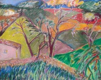 original drawing,oil pastels on paper,''spanish summer'', signed, vintage