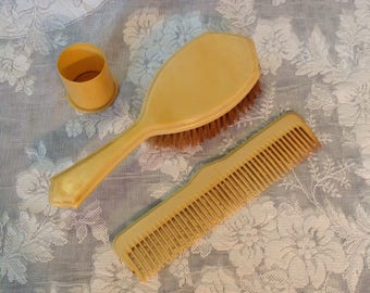 Antique Pyralin French ivory celluloid hair brush comb and hair pin container vanity set boudoir farmhouse romantic cottage style home decor