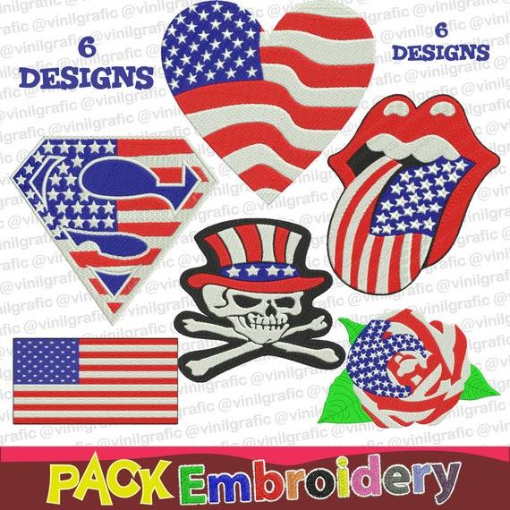 Simbolos USA set 6 Banderas Calaveras Bordadoras Patrones incluye ...