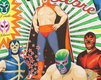 NEW- Alexander Henry Super Lucha Libre 1 Yard Fabric