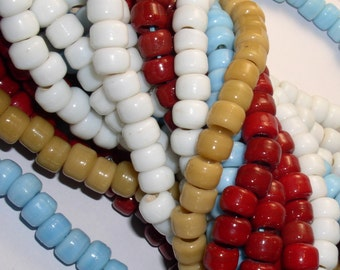 African Trade Padre Crow Bead Opaque WHITE (30)