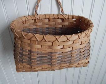 Hand Woven Wicker Wall Basket or Front Door Wicker Basket - Hand Crafted and Signed and & Wicker door basket | Etsy