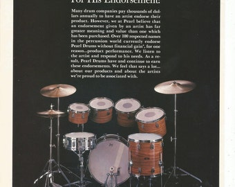 1979 Advertisement Pearl Drums Artist Endorsement Paid Band Kit Set Jam Space Music Studio Practice Room Wall Art Decor