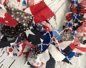 patriotic red white blue fabric garland for July