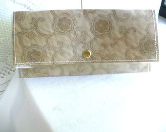 Womens Wallet, Paris, Slim Wallet, Snap Closure, Minimalist Wallet, Floral, 7 Inch, Anniversary Gift, Hand Stitched, Vinyl Cover