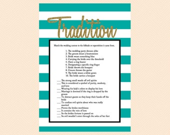 Wedding Tradition Game, Why do we do that Game, teal and White Stripes, Gold Glitter, Printable Bridal Games, Wedding Shower Games BS27