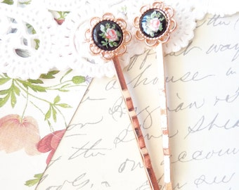 Rose Gold Pink Rose Hair Pins - Rose Gold Pink Rose Bobby Pins - Vintage Black Rose Limoges - Pink Rose Cameo - Bridal