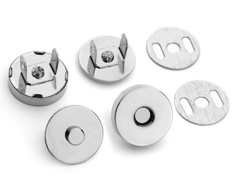 """30 Sets Magnetic Purse Snaps - Closures 18mm 3/4"""" Nickel - Free Shipping (MAGNET SNAP MAG-116)"""