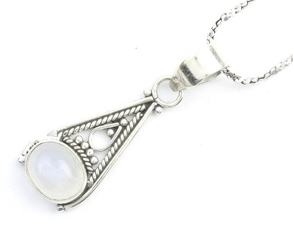Moon Aura Sterling Silver Necklace, Moonstone Jewelry, Gemstone, Meditation, Spiritual, Boho, Gypsy, Festival