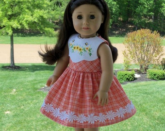 """Like American Girl Doll Clothes / Farmcookies Embroidered Dress for 18"""" Dolls / 18 Inch Doll Clothes"""