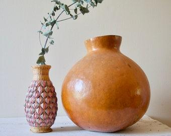 Pink Wicker Vase    Vintage Wicker and Ceramic Bud Vase
