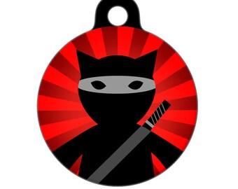Pet ID Tag - Ninja Cat POW Pet Tag, Cat Tag, Luggage Tag, Child ID Tag