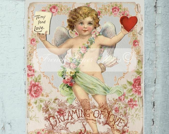 Vintage Shabby Chic Cupid, Valentine Digital, Vintage Valentine Transfer Image, Iron On Graphic, Instant Download
