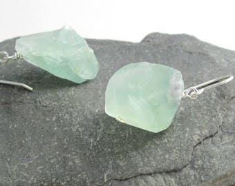 Mint Green Fluorite Earrings, Natural Crystal Jewelry, Sterling Silver Hook