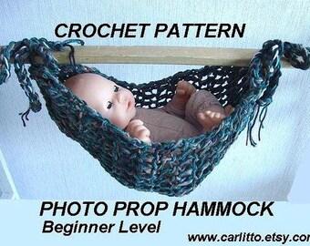 CROCHET Pattern-BASIC BEGINNER Photo Prop  baby Hammock...instant download #110
