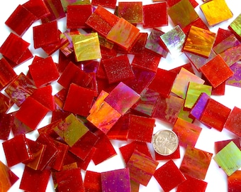Red Iridescent Mosaic Tile