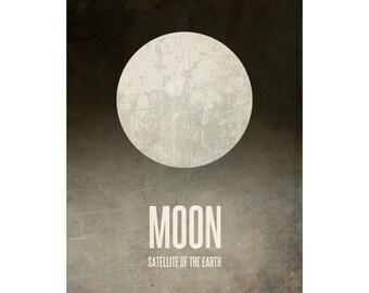 16x20 Moon Poster, Solar System Poster, Milky Way Art Print, Satellite of Earth, Geek Decor, Nerd Design, Geek Chic Gift