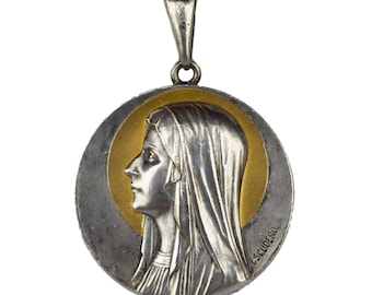 Our Lady of Lourdes Virgin Mary Medal - French Authentic Xtra Large Medal Pendant Charm By Escudero - Nickel and Gold-plated