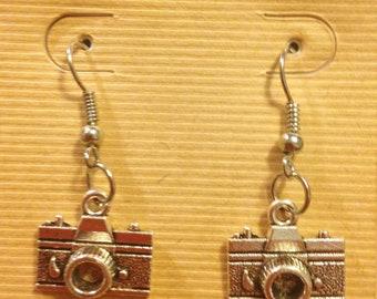 Camera Earrings, camera charms, photography, photo prop, handmade jewelry