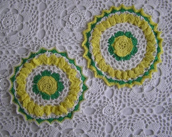 Yellow & Green Crocheted Doilies, Vintage Linens, Tabletop, Vanity, Kitchen