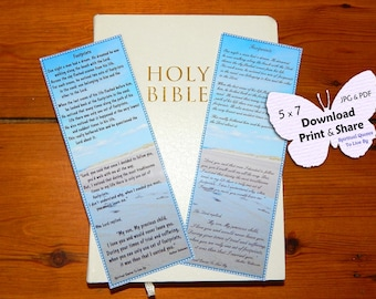 Footprints - Footprints In The Sand - 2 Bookmarks - Download, Print & Share - Inspirational Poem  -  Religious - Spiritual Quotes To Live By