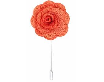 FLOWER LAPEL PIN: Tangerine Orange Microfiber Rose. Custom Mens Handmade Wedding Boutonniere, Brooches, Lovely Lapels