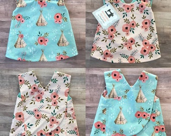 Bohemian Girls Teepee Floral Reversible Crossover Pinafore Dress - Baby Girl - Blush Pink - Aqua Blue - Boho