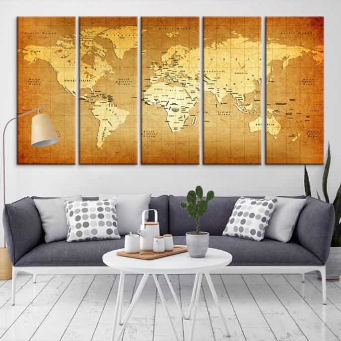 Antique World Map Push Pin Wall Art Canvas Print, World Map ...