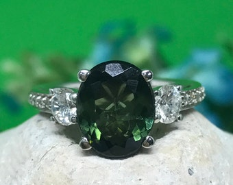 Tourmaline Ring With Diamond Accents 14K White Gold #4623