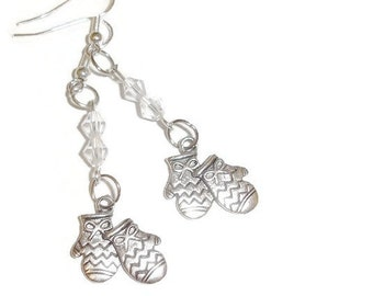 Mittens and Crystals Earrings