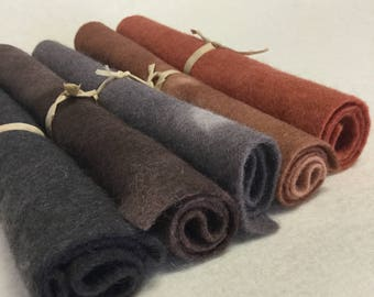 5 Piece Hand Dyed Felt Pack - Browns
