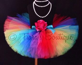 "Imagine - A Magical Rainbow Birthday Tutu - Custom Sewn 10"" Tutu - Made with 9 Vibrant Colors - sizes newborn up to 5T"