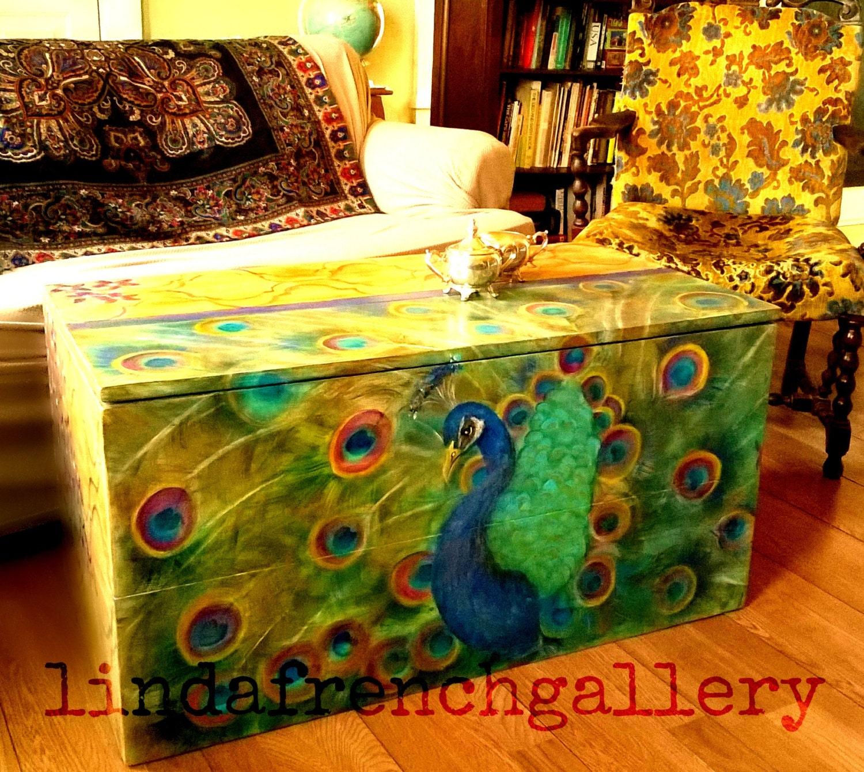 Listo para enviar gran pavo real tronco muebles Arte pintado a