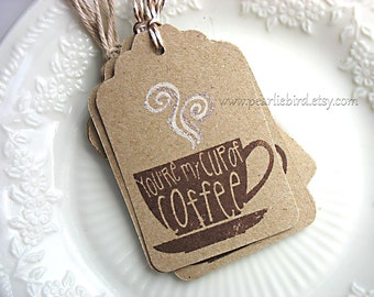 You're My Cup of Coffee Kraft Gift Tags with Glittery Steam, Coffee Lover Tags, Pretty Packaging, Gift Topper