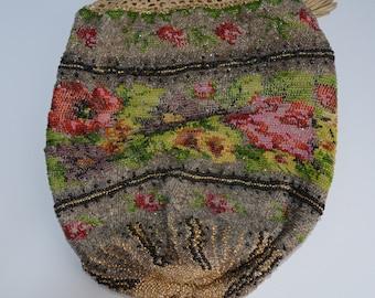 Antique Victorian Beaded Reticule Drawstring Purse Flower Decorated Beaded Handbag Wrist Purse 1800s Fashion