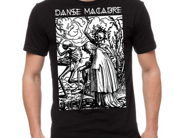 Danse Macabre Woodcut Occult T-Shirt White on Black