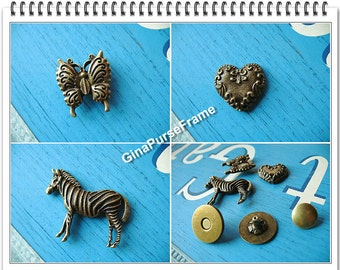 3sets- artistic magnet / strong-magnetic purse snap closure button (includ.3types) (purse metal frame supply)