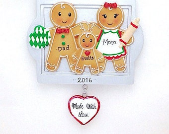 3 Gingerbread Family Personalized Christmas Ornament / Made with Love / Gingerbread Family / Family Christmas Ornament