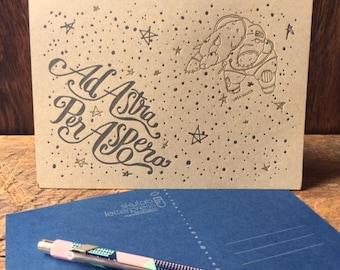 "Ad Astra Postcard - 5x7"" Letterpressed Postcard Print"