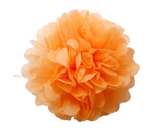 Tangerine Tissue Paper Pom Poms * 1 Large 14 inch Tissue Paper Flowers For Wedding Nursery Shower Party Decoration