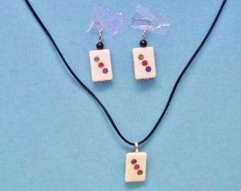 Mahjongg ~ Mahjong Tile Necklace & Earrings Artisan Made Jewelry Repurposed Game Pieces
